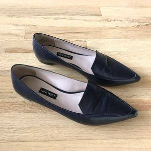 Nine West Abay Smoking Flat French Navy Leather